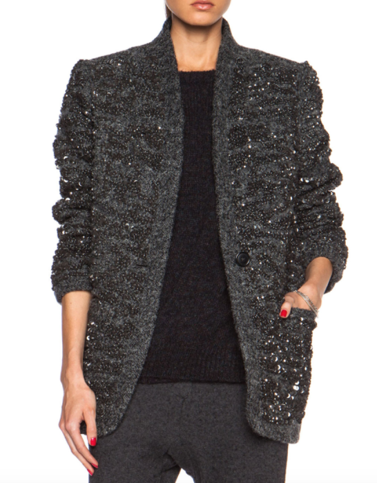 Isabel Marant Gunmetal Sequin Wool Blend Jacket