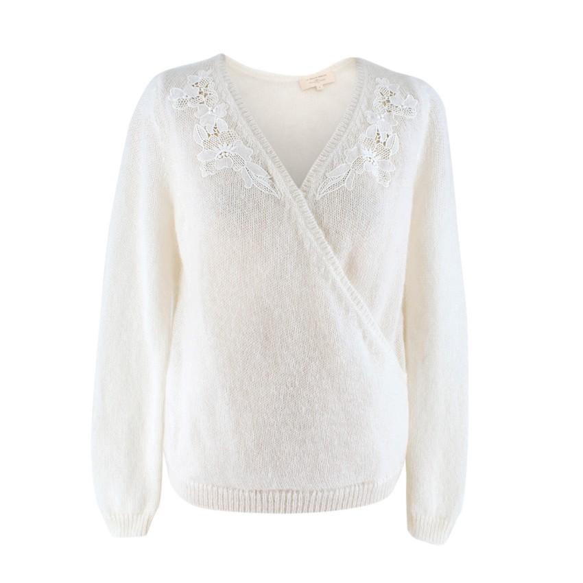La Maille Sezane Cream Twist-front Wool-blend Sweater
