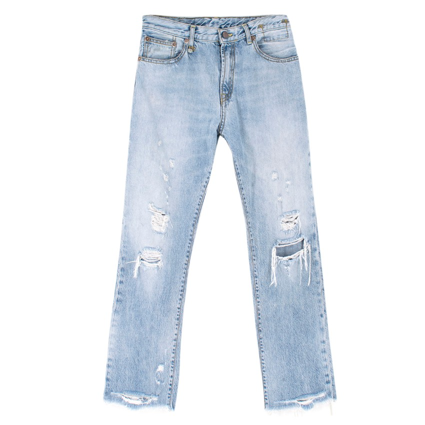 R13 Light Blue Distressed Straight Fit Jeans