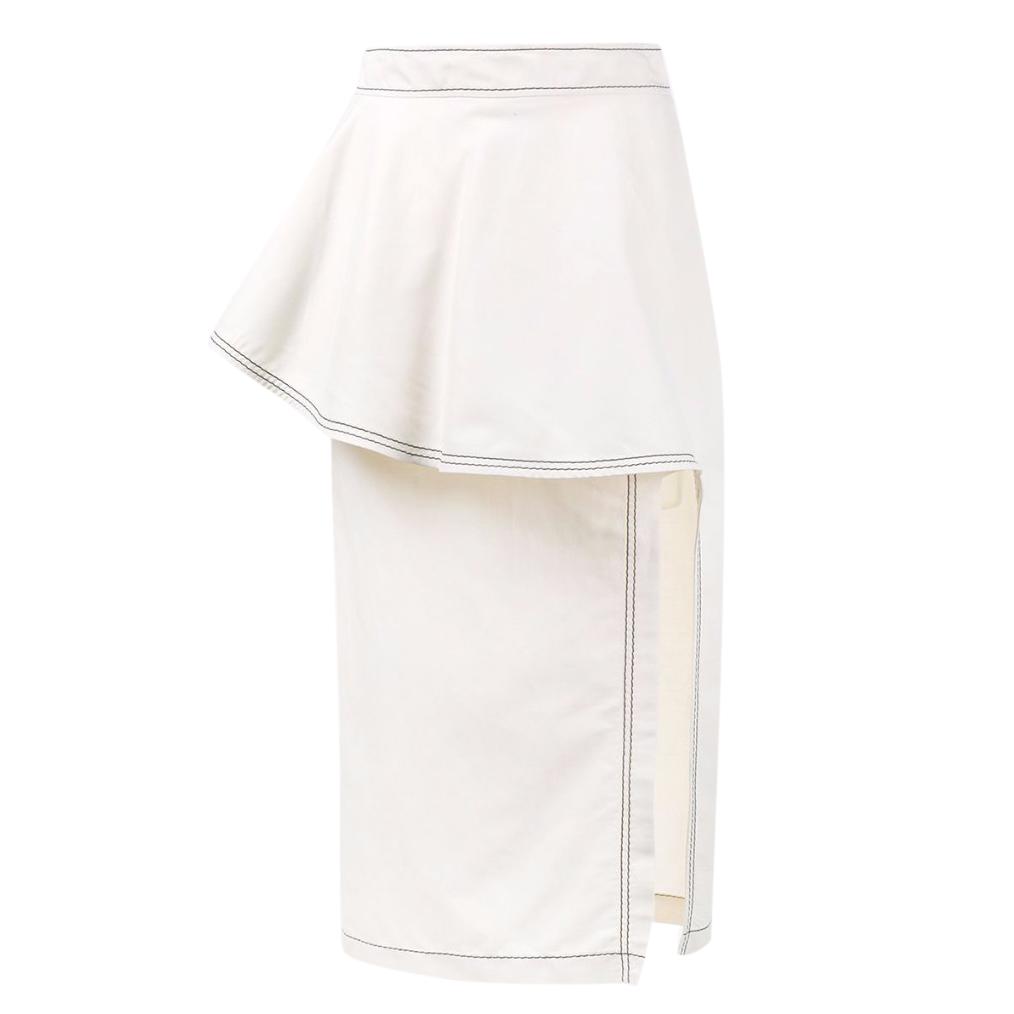 Stella McCartney Off-white Ruffle Straight Skirt