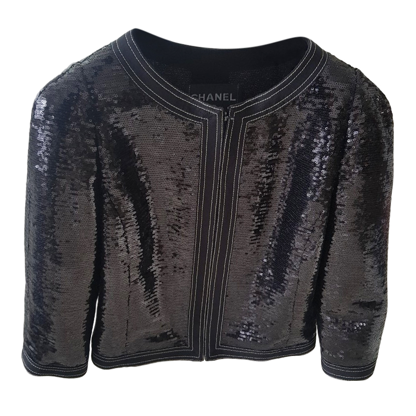 Chanel Black Sequin Cropped Jacket