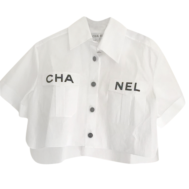 Chanel SS19 Cropped White Logo Shirt