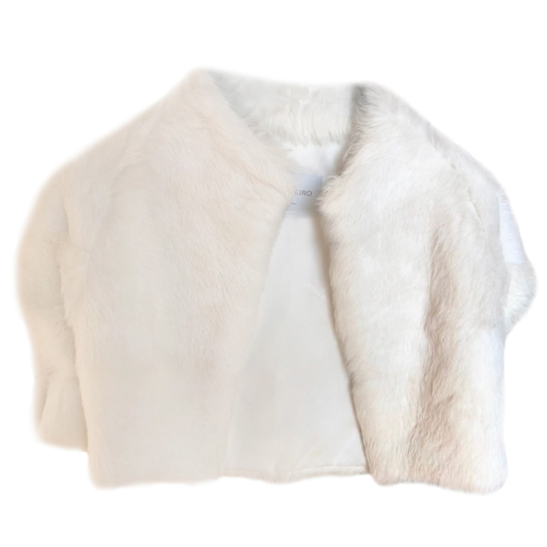 Bespoke Silk Lined Rabbit Fur White Bolero