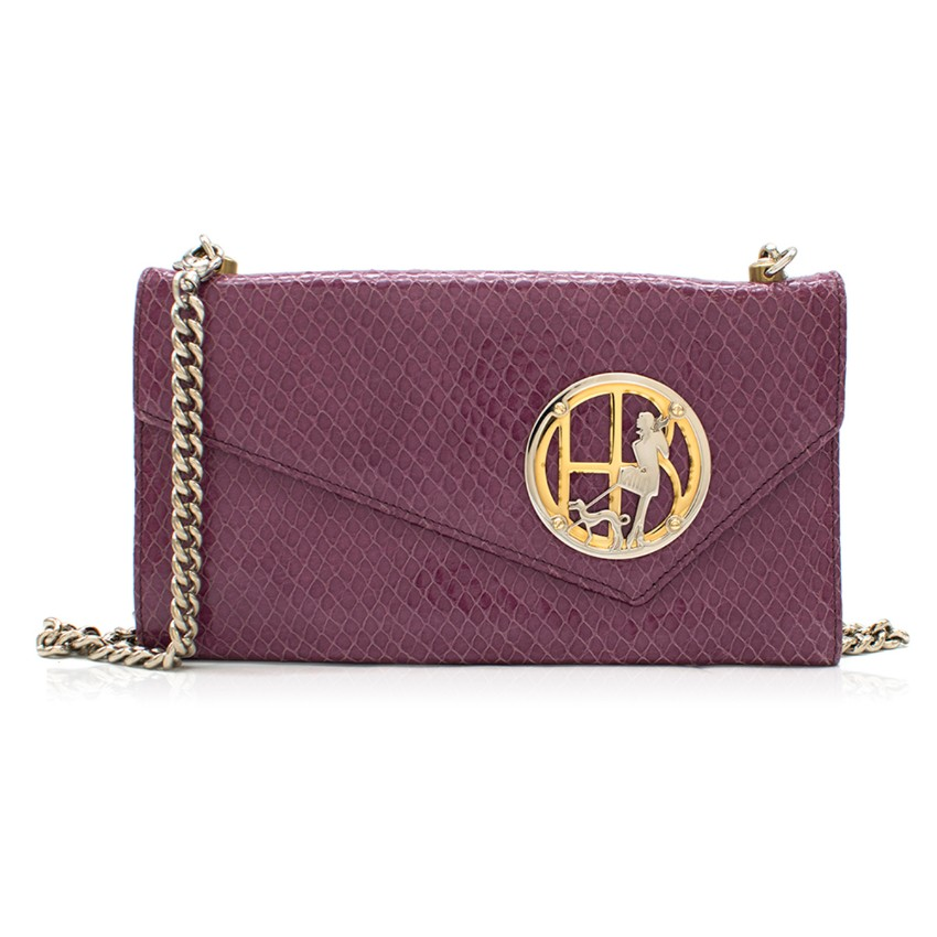 Henri Bendel Purple Crocodile-effect Clutch Bag