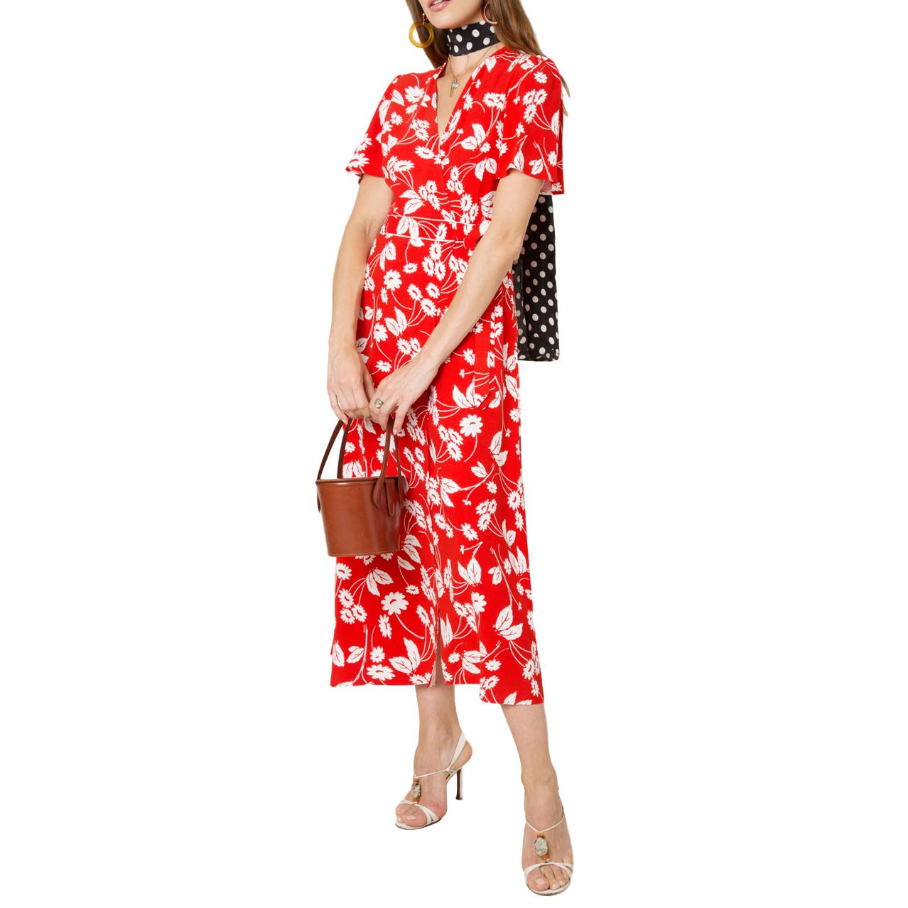 Rixo Shauna Abstract Daisy Red Midi Wrap Dress - Current