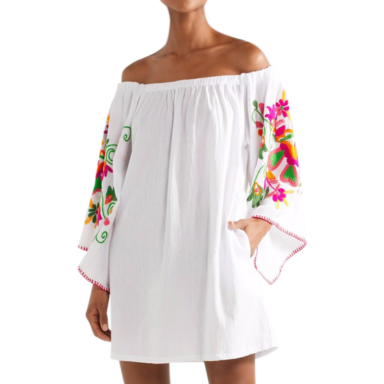 Sensi Studio Off-shoulder Embroidered Floral Mini Dress