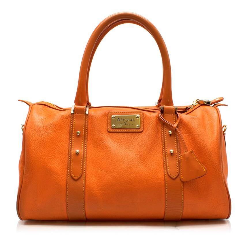 Aspinal of London Orange Leather Tote Bag