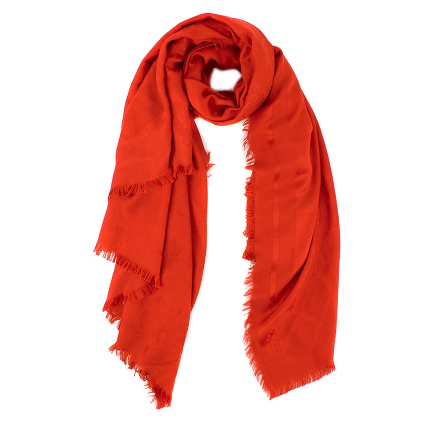 Henri Bendel Red Wool & Silk-blend Scarf