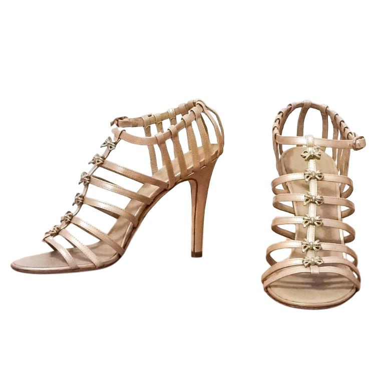 Chanel Patent Beige Bow Detail Sandals