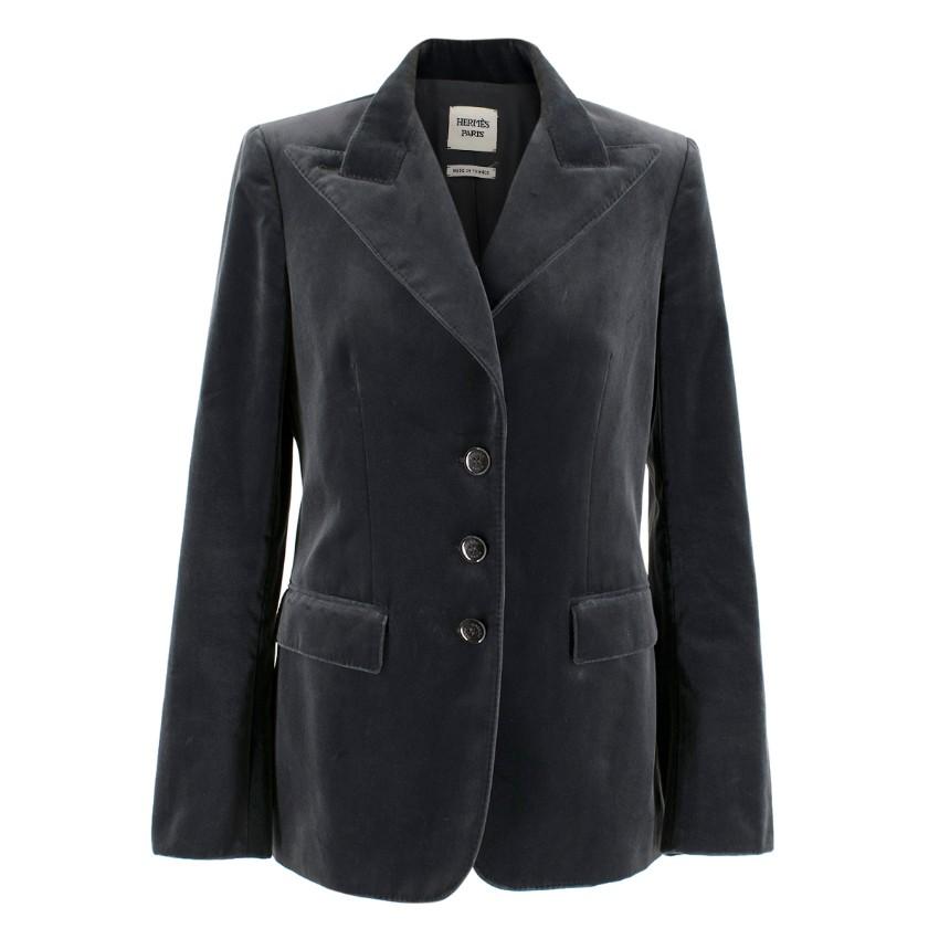 Hermes Dark Grey Single Breasted Velvet Blazer