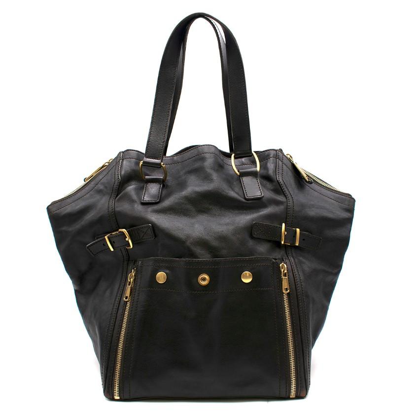 Yves Saint Laurent Black Leather Downtown Medium Tote Bag