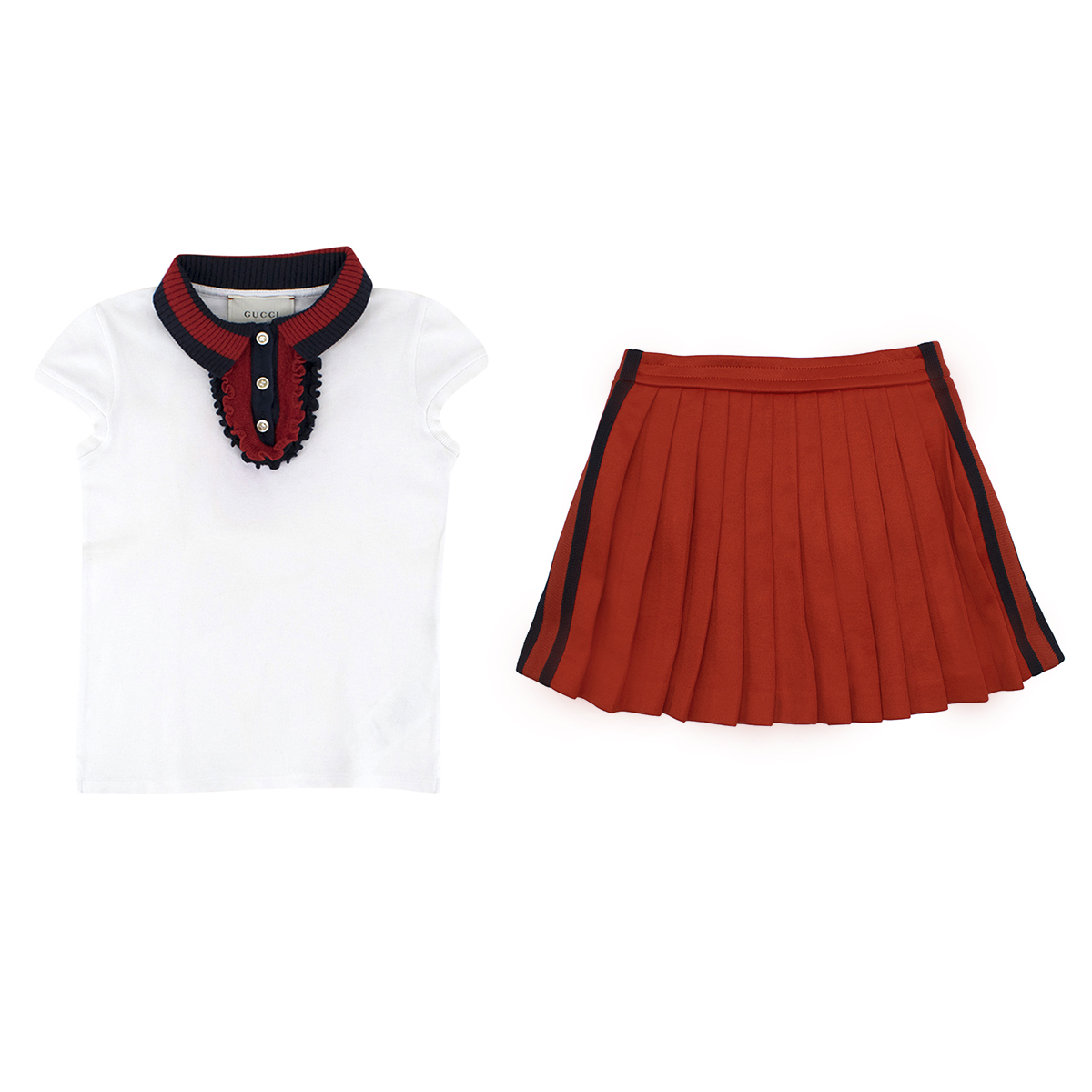 Gucci Girls' White Polo Top & Red Skirt Set