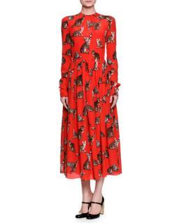 Dolce & Gabbana Red Cat Print Silk Dress