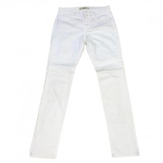 MAC Embroidered White Denim Jeans