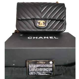 Chanel Black Chevron Mini Flap Bag