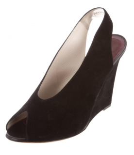 Celine Black Suede Slingback Wedge Sandals