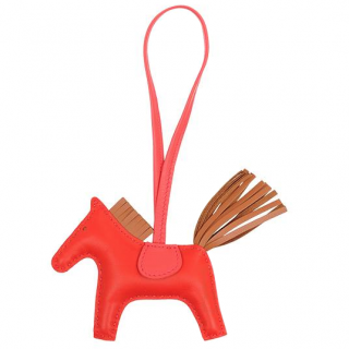 Hermes Rouge Indienne Rodeo PM Bag Charm