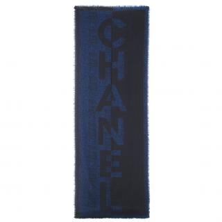 Chanel Navy & Blue Cashmere Scarf