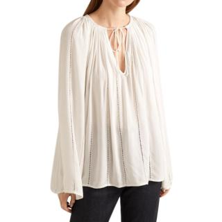 Frame Off-white Lattice Peasant Top