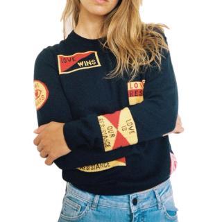 Zoe Karssen Navy 'Love Wins' Wool-blend Sweater