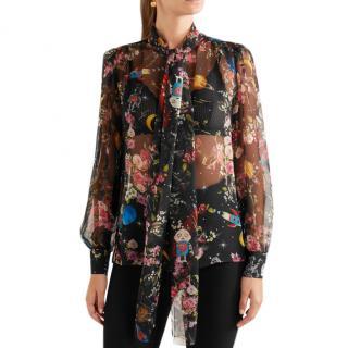 Dolce & Gabbana Pussy-bow printed silk-chiffon blouse