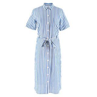 Sezane Blue & White Striped Midi Dress