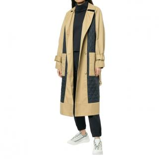 Tibi Finn Quilted-panel Cotton Trench Coat - New Season