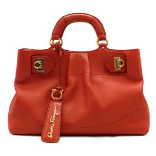 Salvatore Ferragamo Red Leather Tote Bag