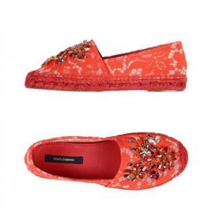 Dolce & Gabbana embellished lace espadrilles