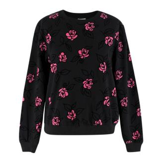 Manoush Black Painted Petals Cotton Jumper