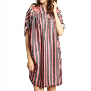 Manoush Black & Pink Striped embroidered Dress