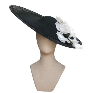 Philip Treacy Rose-Applique Wide-Brim Hat