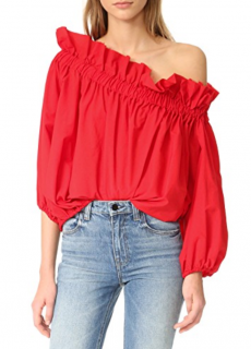 Marques Almeida Red Off-Shoulder Gathered Top