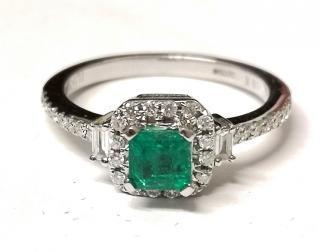 Iliana Square Cut Colombian Emerald and diamond ring