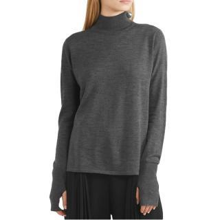 Dion Lee Dark Grey Open-back Merino Wool Sweater