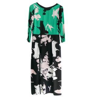 Tibi Silk Crepe Printed Dress