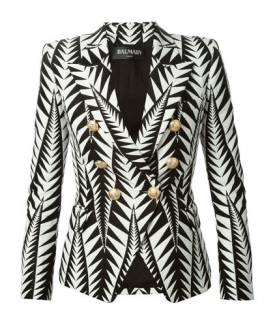 Balmain Leaf print double breasted jacket