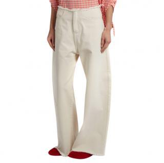 Marques Almeida White Frayed-edge Wide-leg Jeans