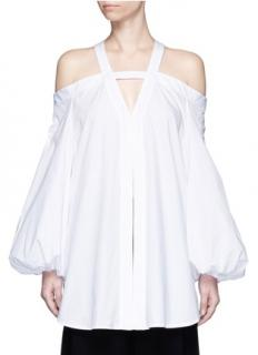 Ellery Jeanne White Cold-shoulder Cotton Top