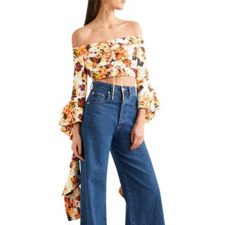 Ellery Orange Floral High Noon Crop Top