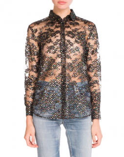 Saint Laurent Metallic Star-Print Sheer Blouse