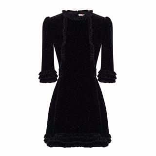 The Vampire's Wife Black Sparkle Velvet Mini Cate Dress - New Season