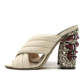 Gucci Webby Quilted Leather Snake-Heel Mule Sandals