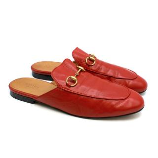 Gucci Princetown Red Leather Mules