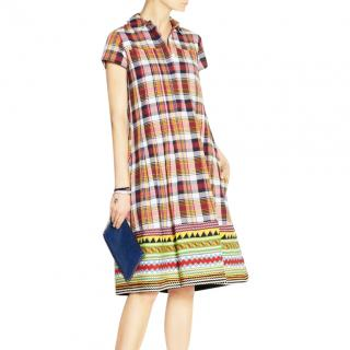 Suno Plaid Embroidered Dress