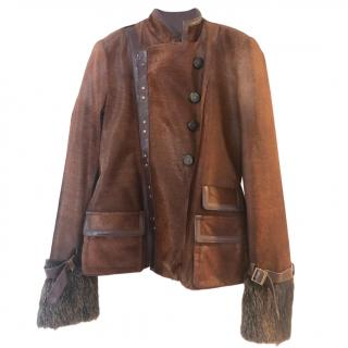Gucci Leather & Beaver Fur Jacket