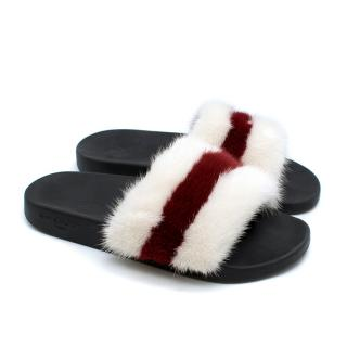 Givenchy White & Red Mink Fur Slides