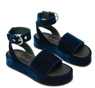 Mulberry Chunky Ankle Strap Navy Velvet Sandals