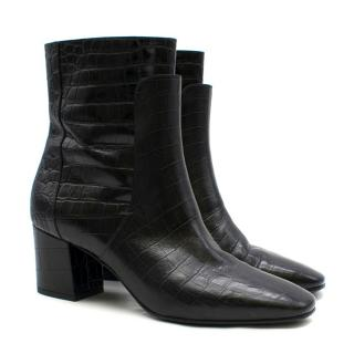 Givenchy Black Crocodile-effect Leather Ankle Boots