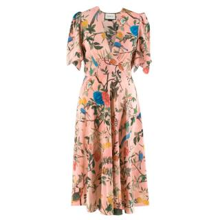 Gucci Pink Floral Print Silk Midi Dress